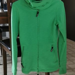 Green bench sweater